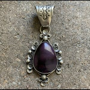 Jewelry - N.American Sterling Silver Sugilite Pendant.Signed